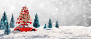 Christmas Gifts In Snowy Landscape